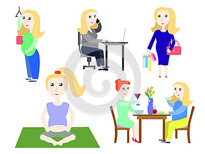 pregnant-woman-life-set-vector-illustrations-work-employee-sole-mother-pregnancy-future-mom-71007208